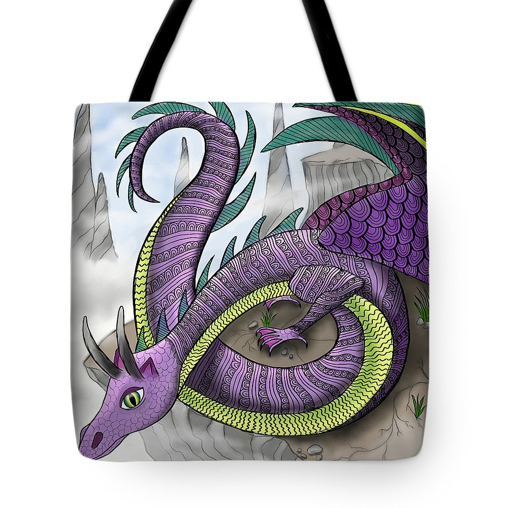 Dragon Tote Bag featuring the painting Purple Dragon by Aimee N Youngs