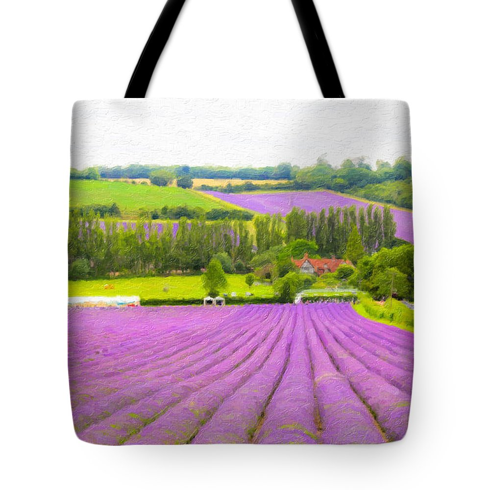 Lavender Fields Tote Bag featuring the photograph Purple Fields Of Love by Zahra Majid