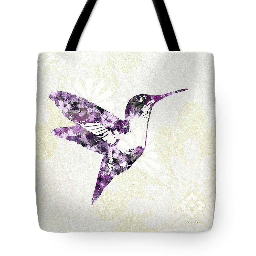 Bird Tote Bag featuring the mixed media Purple Floral Hummingbird Art by Christina Rollo