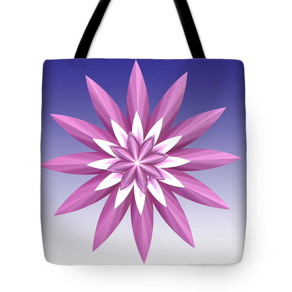 Fractal Tote Bag featuring the digital art Purple Flower by Deborah Benoit