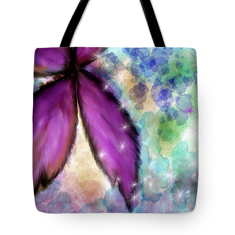 Mixed Media Tote Bag featuring the painting Purple Flower Watercolor Doodle by Susan Kinney
