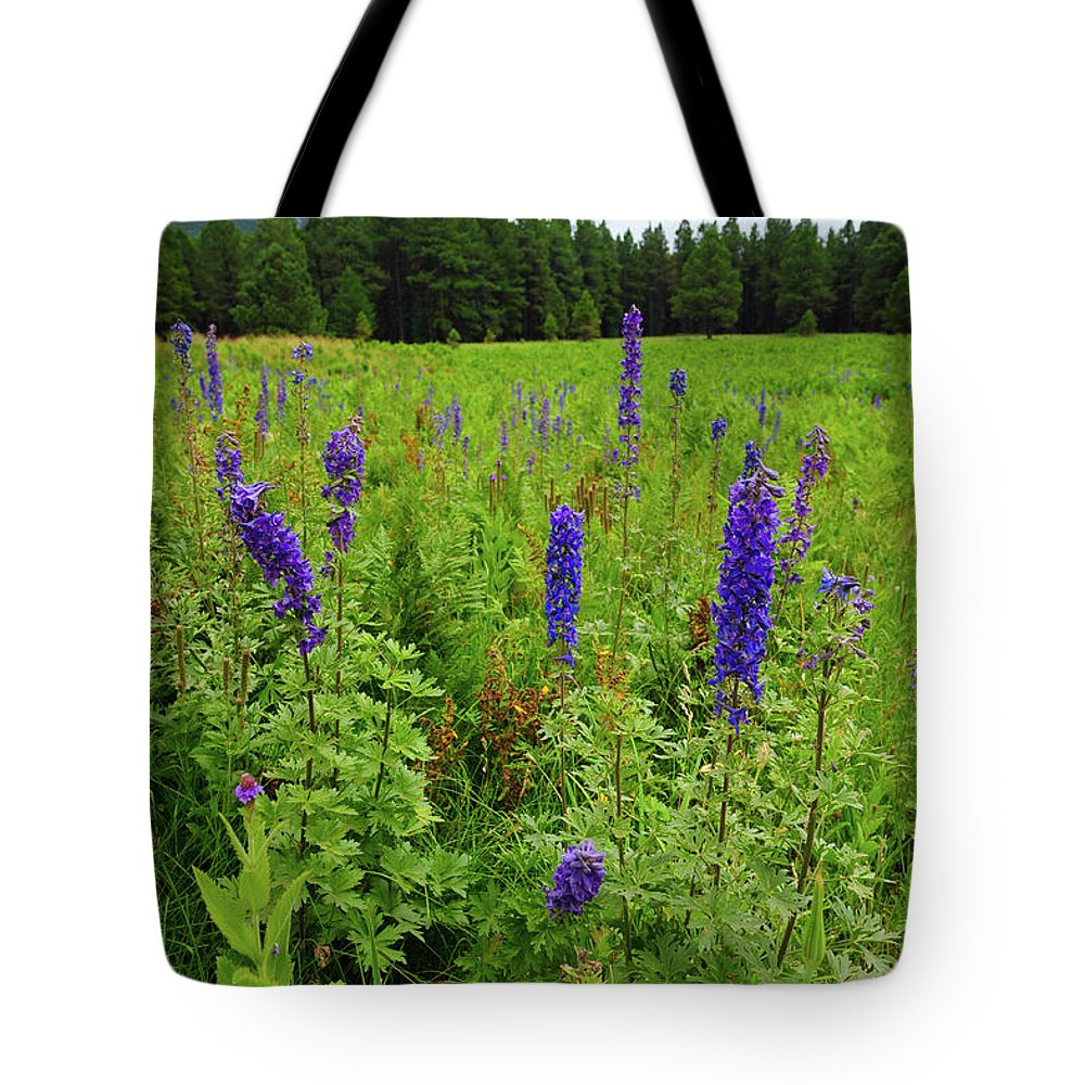 Flowers Tote Bag featuring the photograph Purple Flowers by Scott Sawyer