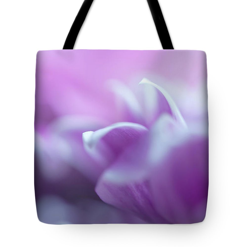 Jenny Rainbow Fine Art Photography Tote Bag featuring the photograph Purple Glow. Gentle Floral Macro by Jenny Rainbow