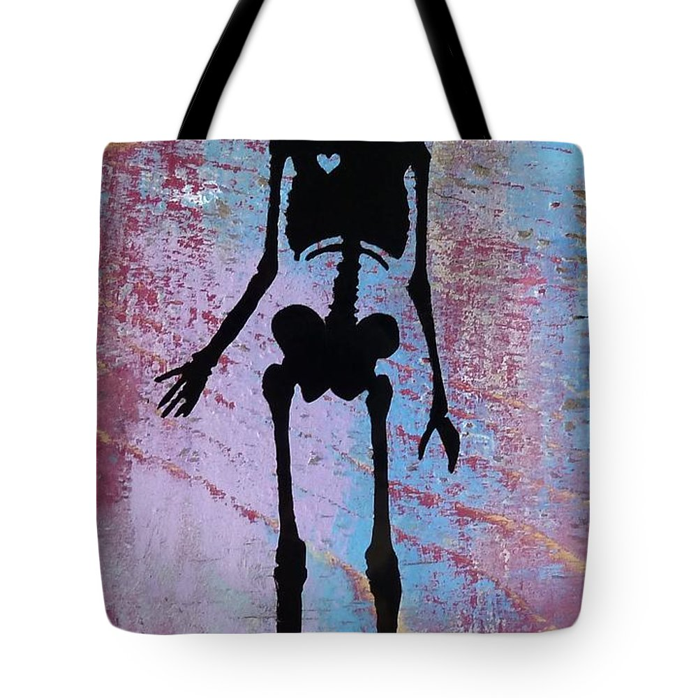 Skeleton Tote Bag featuring the mixed media Purple Haze by Desiree Warren