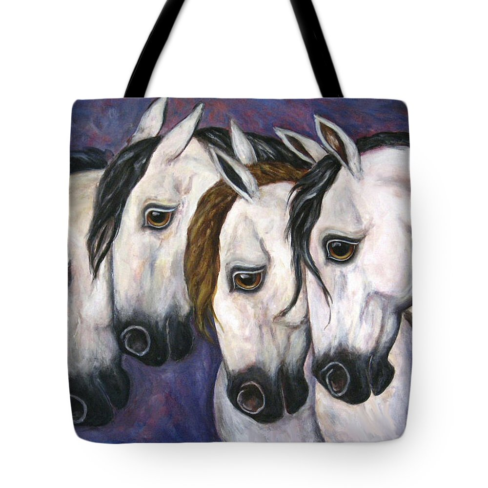 Horse Painting Tote Bag featuring the painting Purple Haze by Frances Gillotti