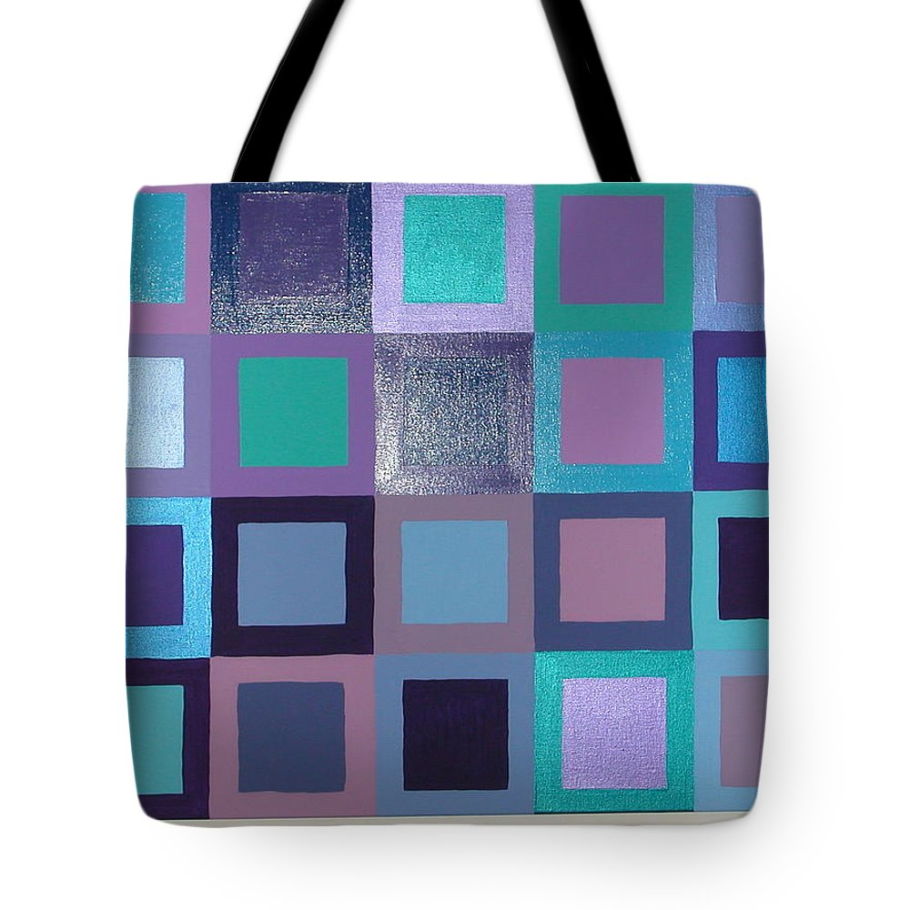 Squares Tote Bag featuring the painting Purple Haze by Gay Dallek