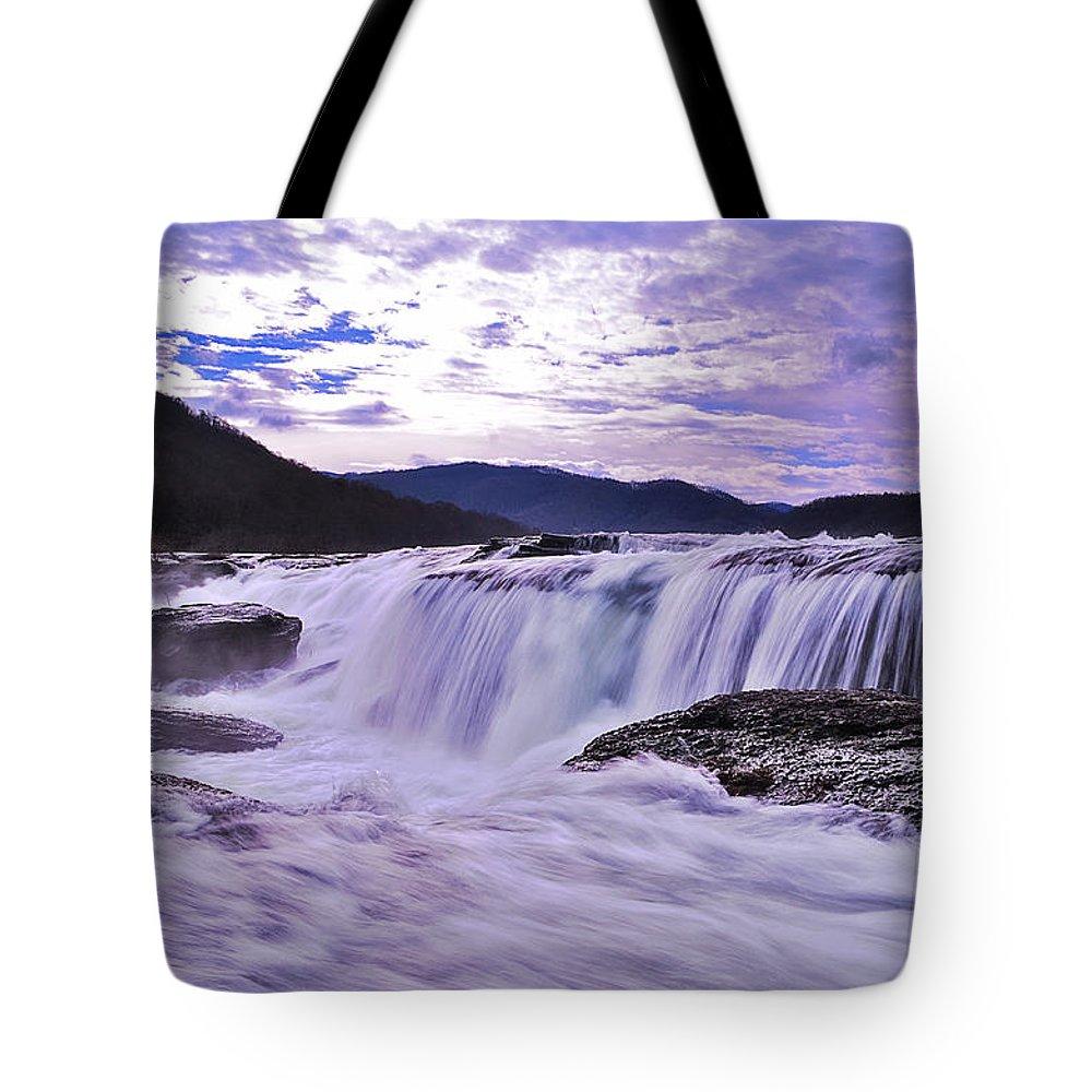 Tote Bag featuring the photograph Purple Haze Waterfall by Lj Lambert