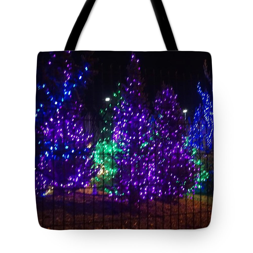 Blue Tote Bag featuring the photograph Purple Holiday Lights by Susan Brown