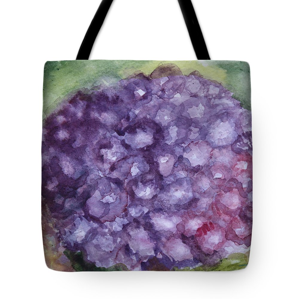 Purple Tote Bag featuring the painting Purple Hydrangea by Donna Walsh