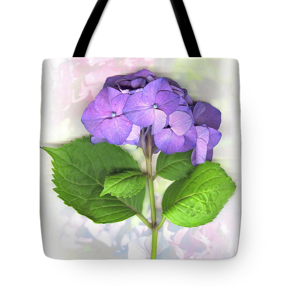 Purple Tote Bag featuring the mixed media Purple Hydrangea by Sandi F Hutchins