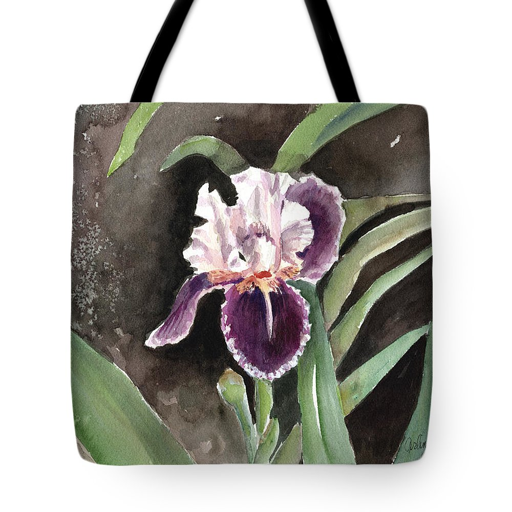 Flower Tote Bag featuring the painting Purple Iris by Arline Wagner