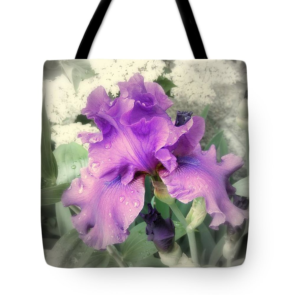 Iris Tote Bag featuring the photograph Purple Iris In Focal Black And White by Margie Avellino