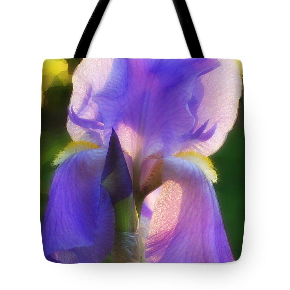 Iris Tote Bag featuring the photograph Purple Iris by Jeff Breiman