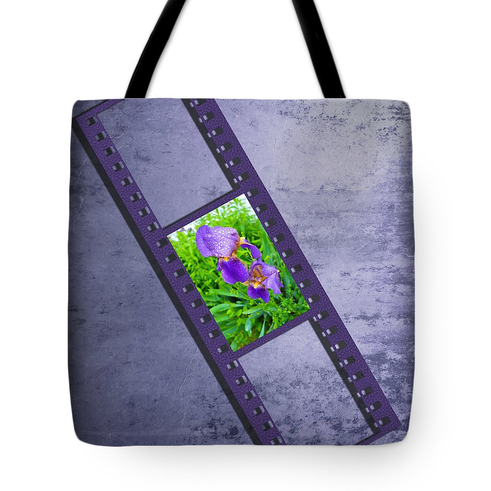 Iris Tote Bag featuring the photograph Purple Iris Passion by Andrea Swiedler