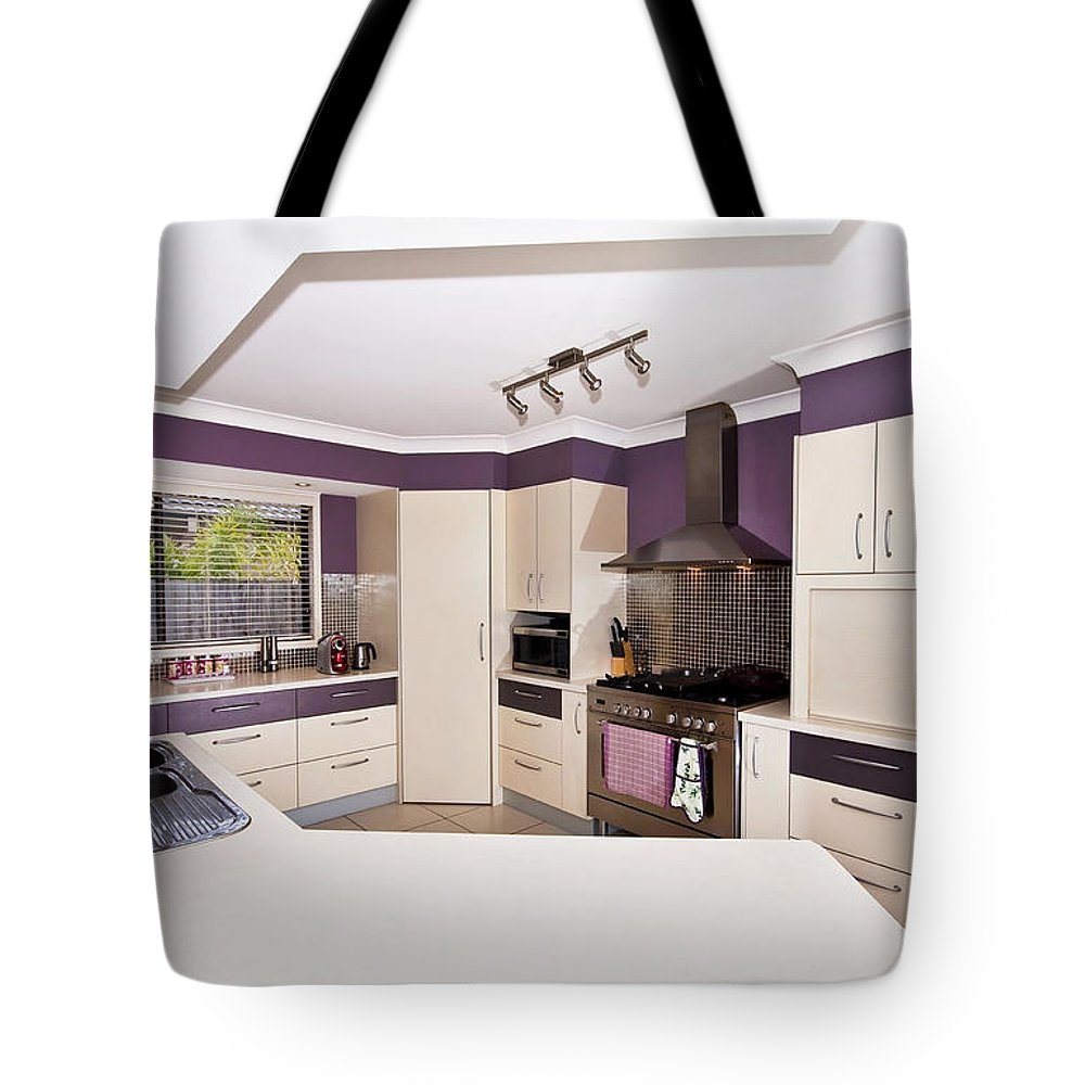 Purple Tote Bag featuring the photograph Purple Kitchen by Darren Burton