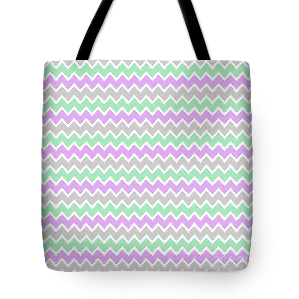 Purple Tote Bag featuring the digital art Purple Lavender Mint Green And Grey Gray Chevron by Laura DeCamp