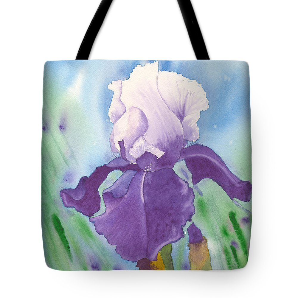 Iris Tote Bag featuring the painting Purple by Louise Magno