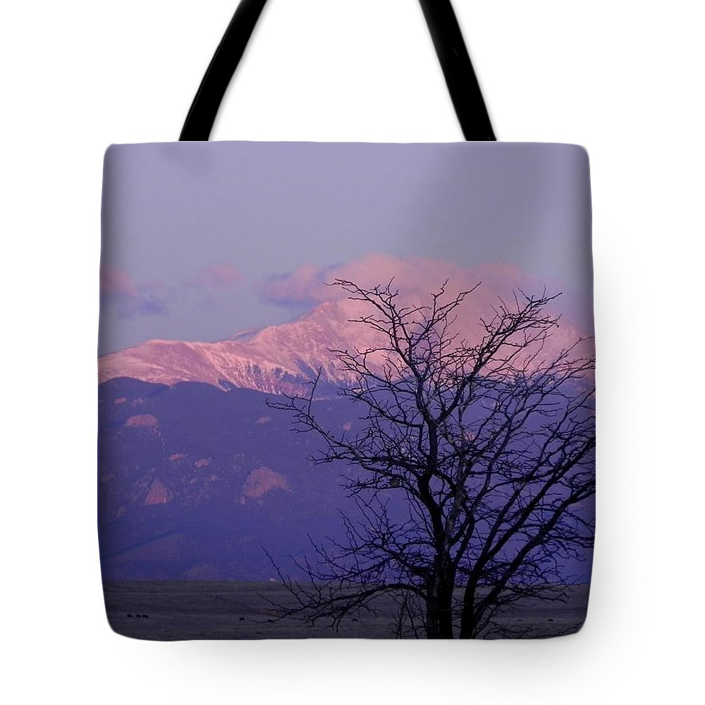 Pikespeak Tote Bag featuring the photograph Purple Mountain Majesty by Adrienne Petterson