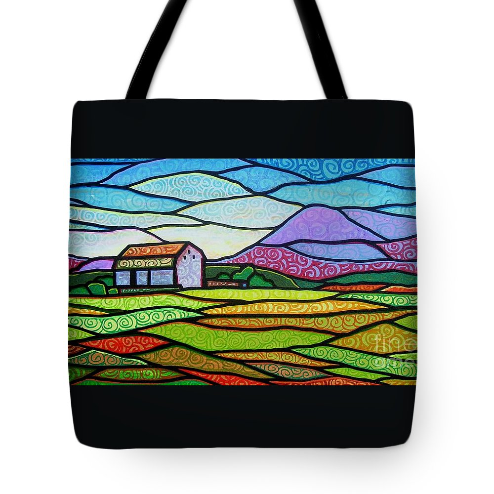 Mountains Tote Bag featuring the painting Purple Mountain Majesty by Jim Harris