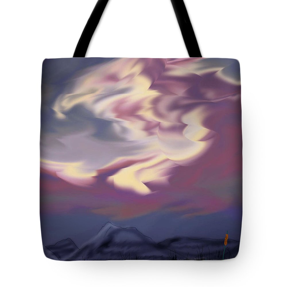 Clouds Tote Bag featuring the painting Purple Mountain Majesty by Anne Norskog