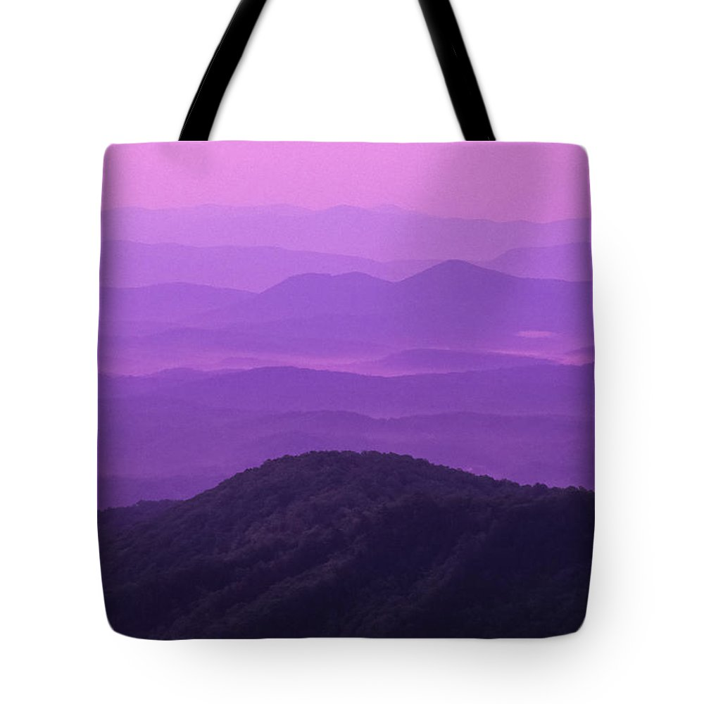 Asheville Tote Bag featuring the photograph Purple Mountains by Joye Ardyn Durham