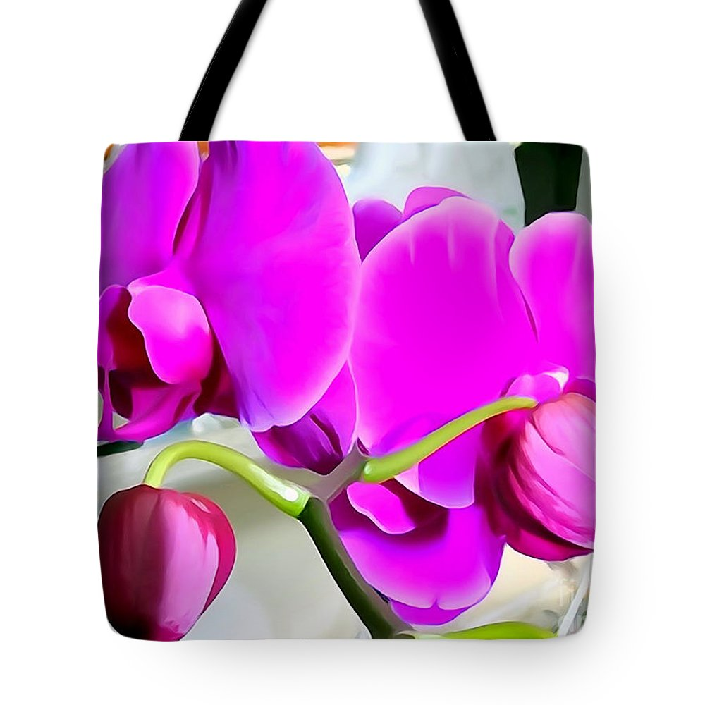 Digital Tote Bag featuring the photograph Purple Orchids by Ed Weidman