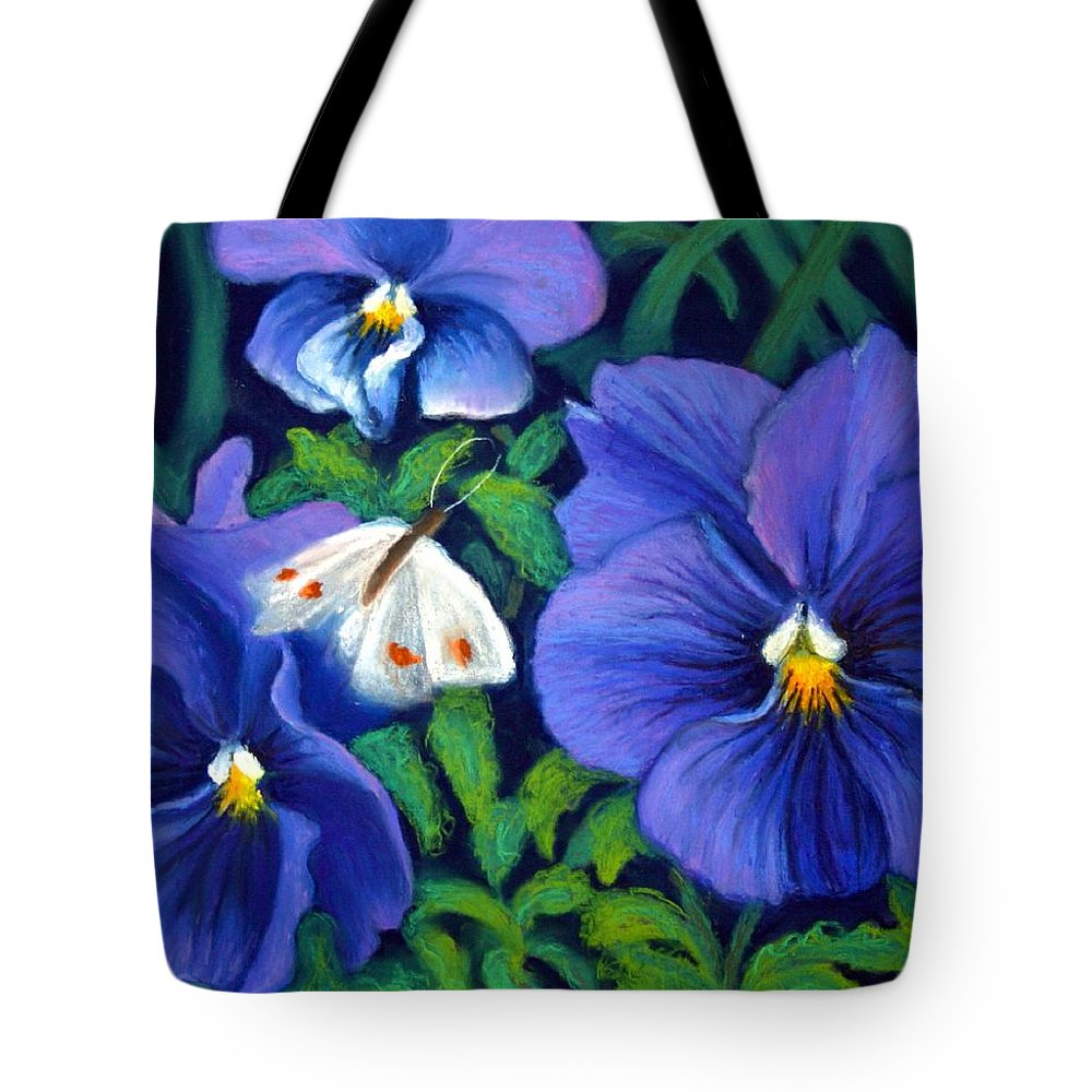 Pansy Tote Bag featuring the painting Purple Pansies And White Moth by Minaz Jantz