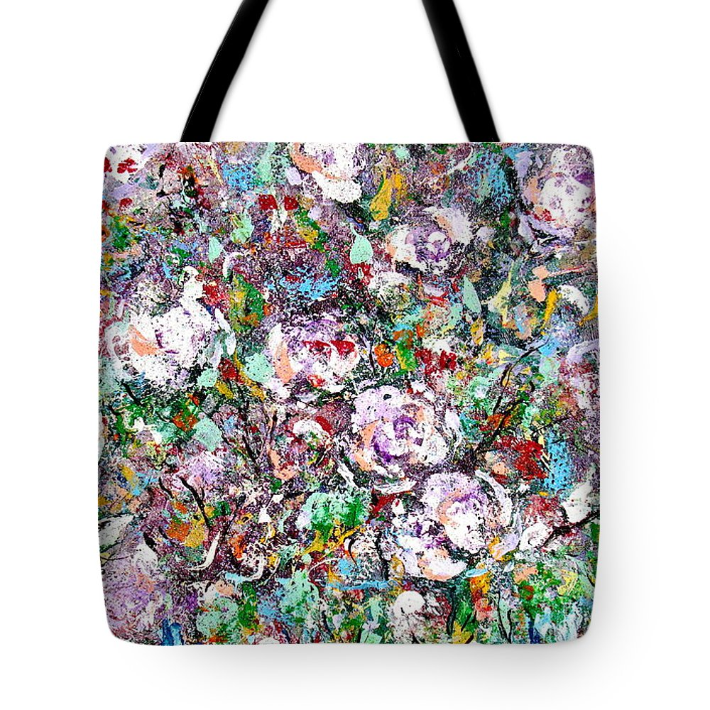 Abstract Tote Bag featuring the painting Purple Passions by Natalie Holland