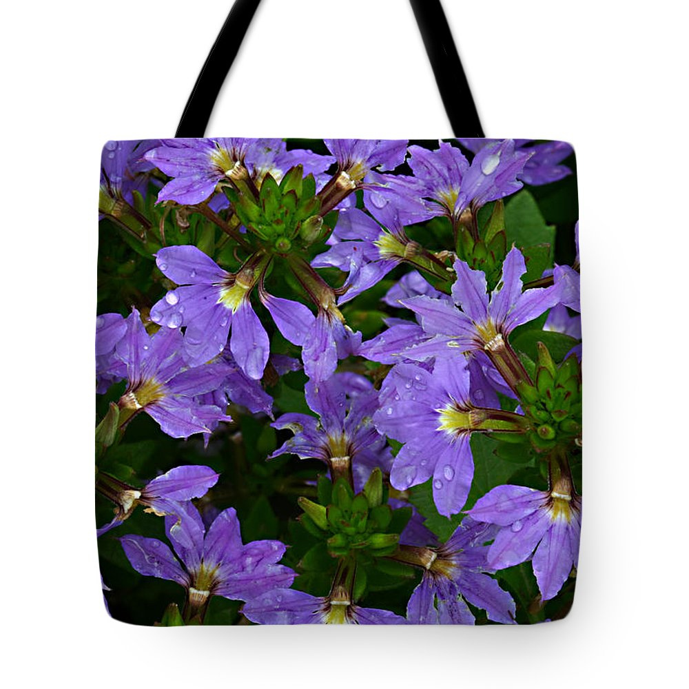 Purple Flower Plant Green Photograph Photography Tote Bag featuring the photograph Purple Perspective by Shari Jardina