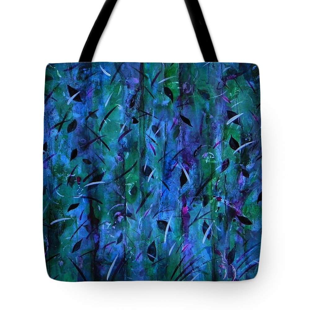 Abstract - Non-objective- Nature - Forest - Fantasy - Trees - Storm - Rain Tote Bag featuring the painting Purple Rain by Barbara March