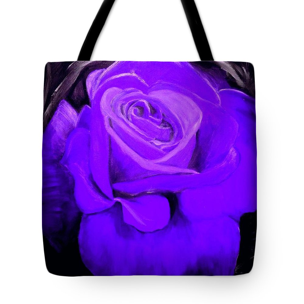 Rose Tote Bag featuring the painting Purple Rose by Nicole Clark