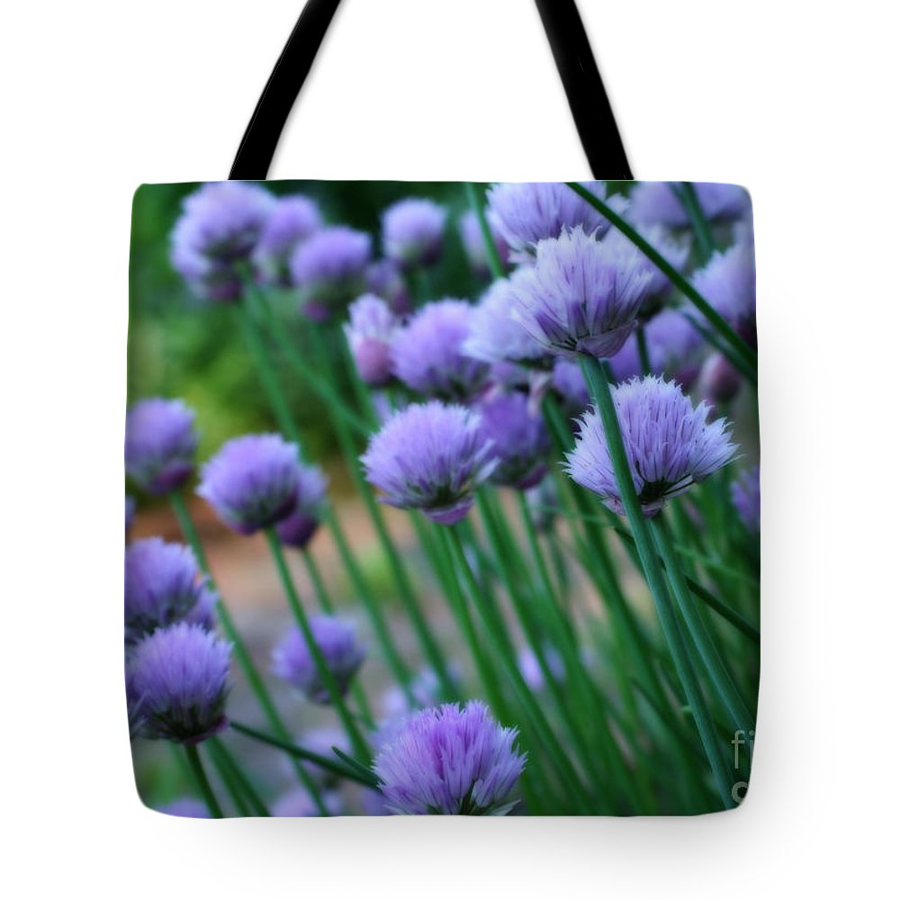 Flower Tote Bag featuring the photograph Purple Scallions by Smilin Eyes Treasures
