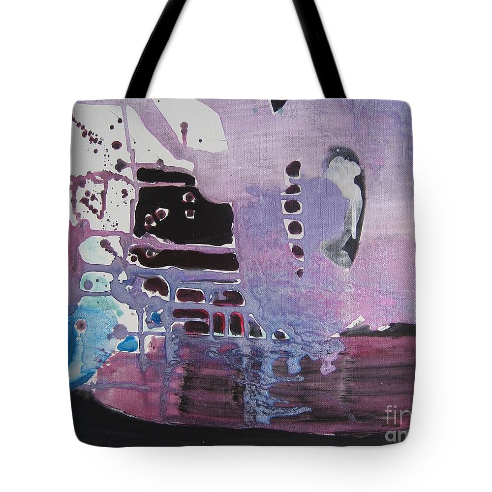 Abstract Paintings Tote Bag featuring the painting Purple Seascape by Seon-Jeong Kim