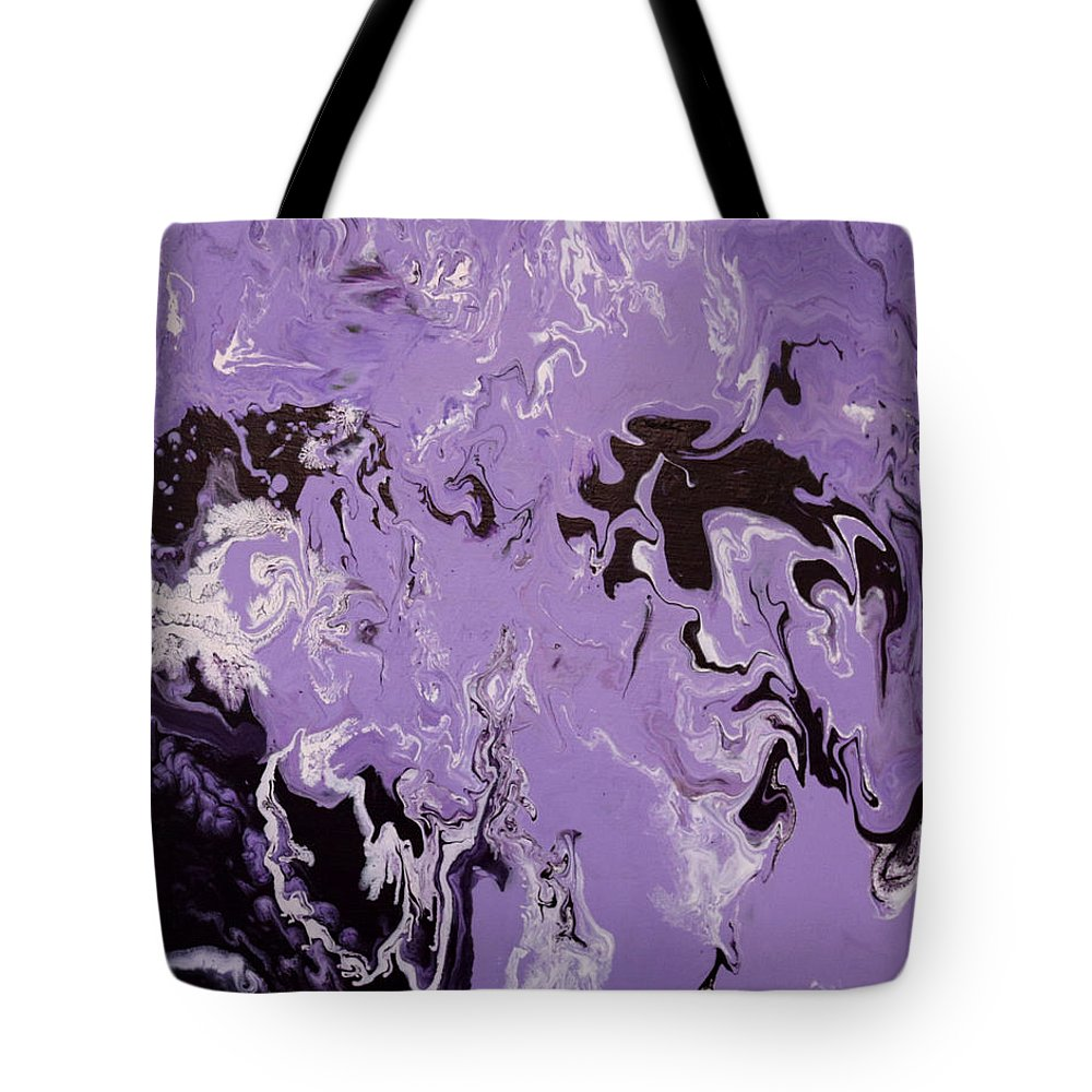 Abstract Tote Bag featuring the painting Purple Series No. 3 by Carole Sluski