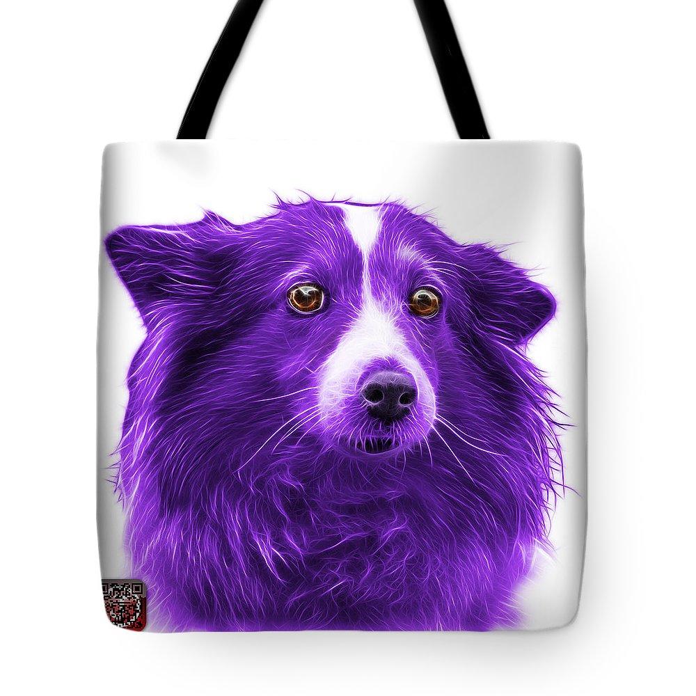 Sheltie Tote Bag featuring the mixed media Purple Shetland Sheepdog Dog Art 9973 - Wb by James Ahn