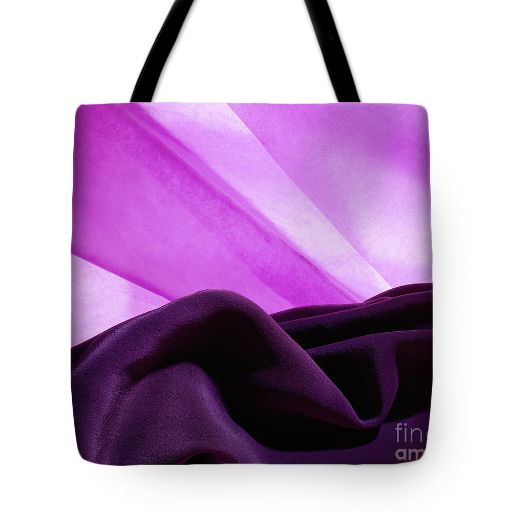 Abstract Tote Bag featuring the photograph Purple Silk by Stefania Levi