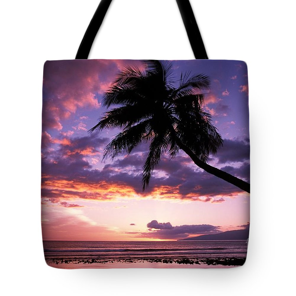 Beach Art Tote Bag featuring the photograph Purple Sunset by Ron Dahlquist - Printscapes