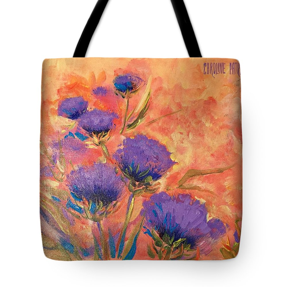 Thistles Tote Bag featuring the painting Purple Thistles by Caroline Patrick