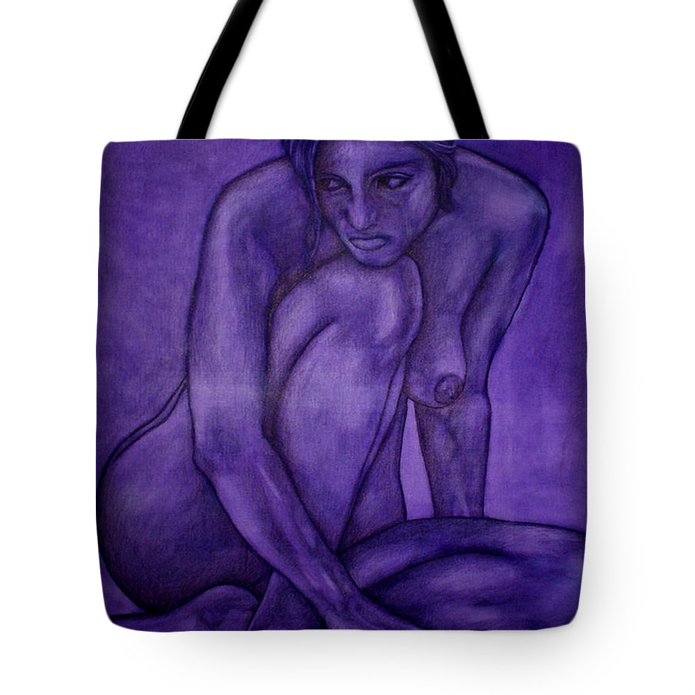 Nude Women Tote Bag featuring the painting Purple by Thomas Valentine