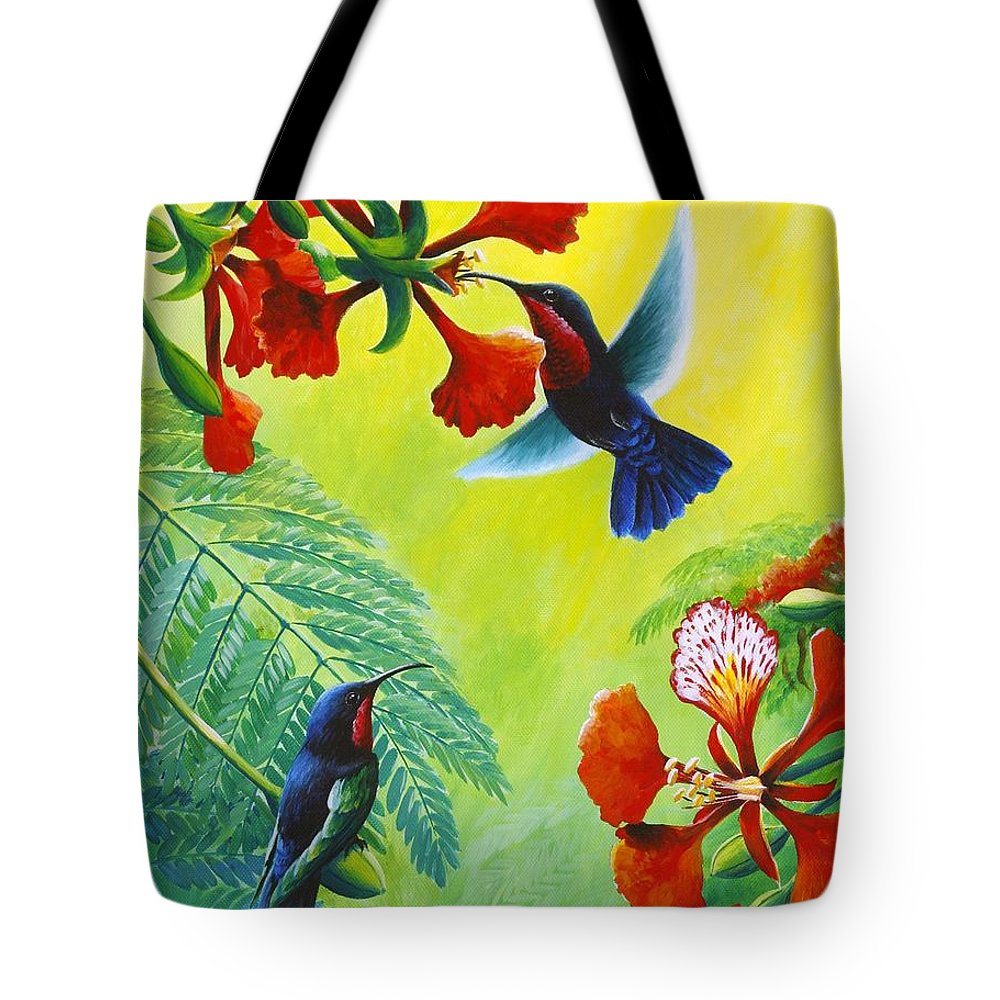 Chris Cox Tote Bag featuring the painting Purple-throated Caribs And Flamboyant by Christopher Cox