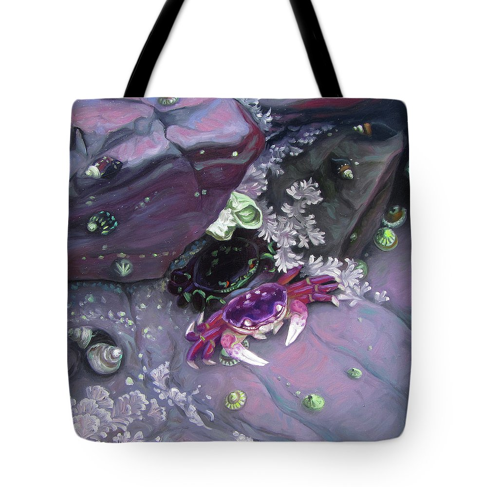 Crab Tote Bag featuring the painting Purple Tidepool by Ruth Hulbert