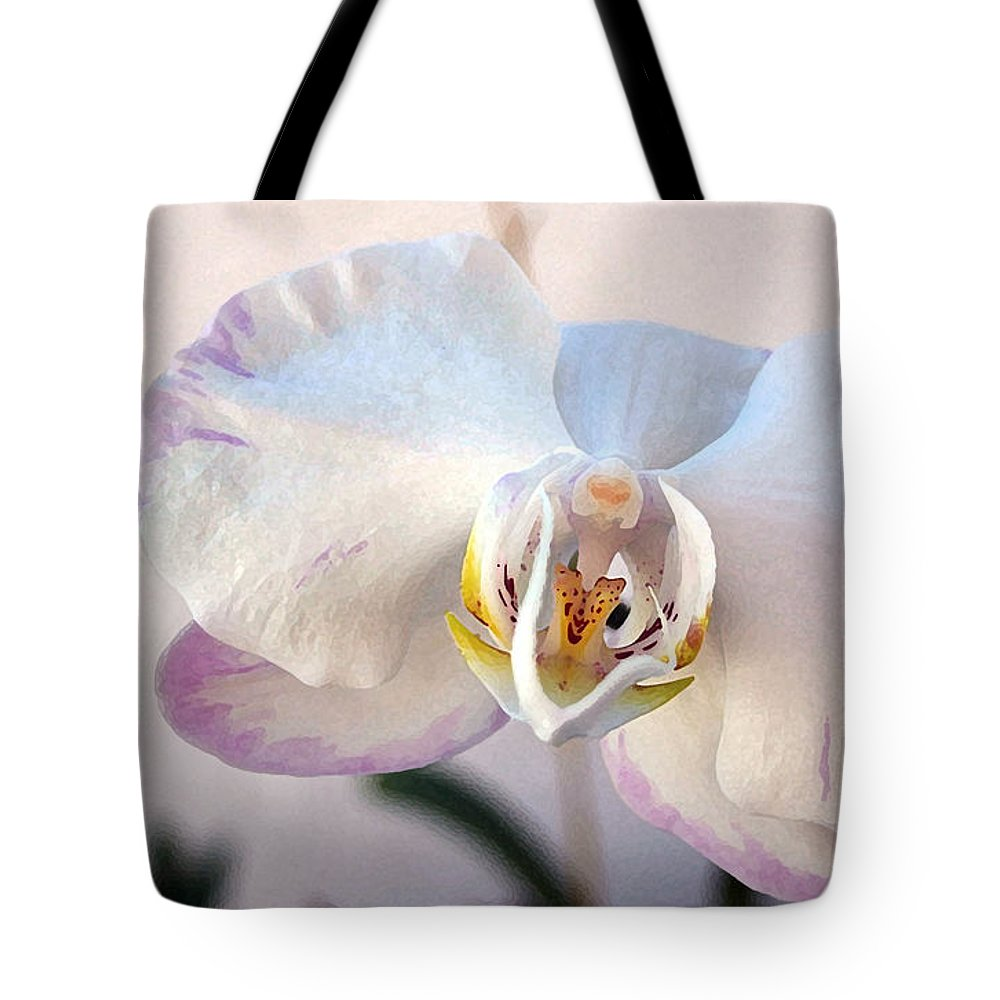 Orchid Tote Bag featuring the photograph Purple Tipped Orchid by Mary Haber
