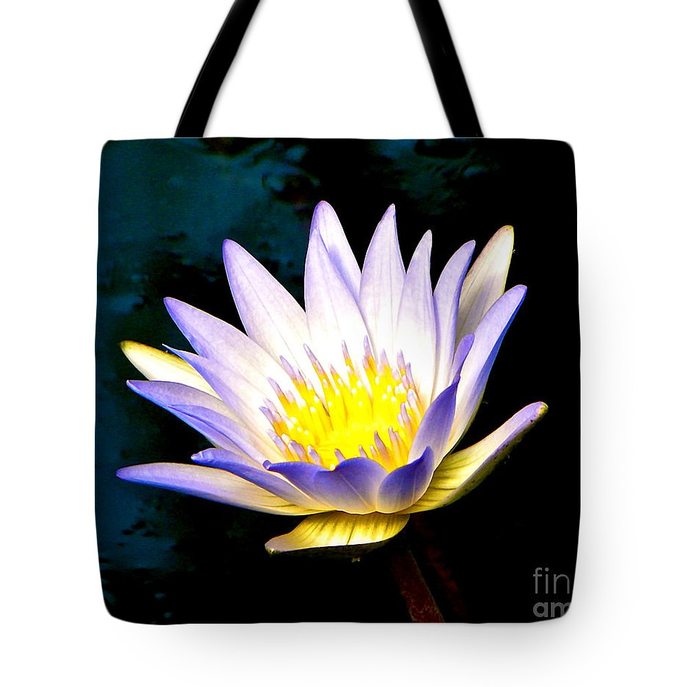 Water Lily Tote Bag featuring the photograph Purple Tipped Water Lily by Tisha Clinkenbeard