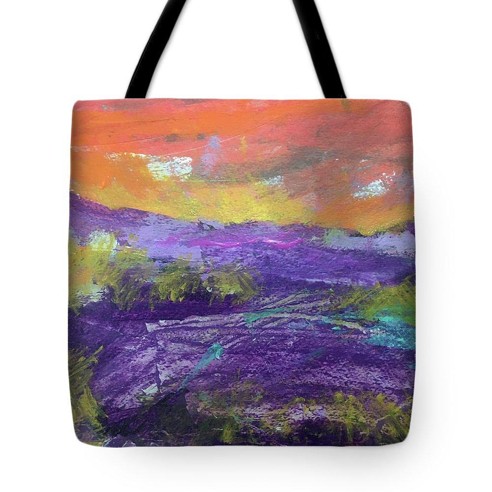Abstract Tote Bag featuring the painting Purple Valley by Jeannine Owens