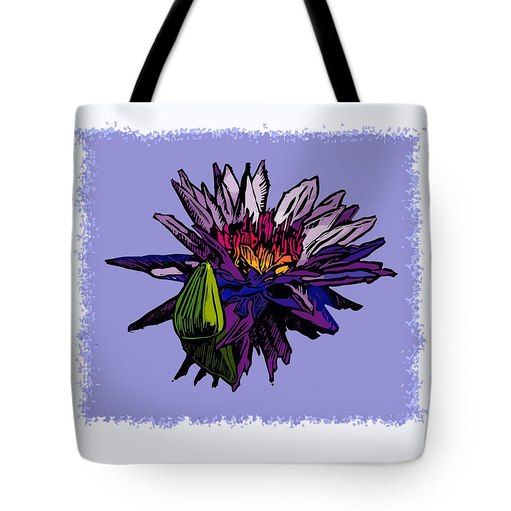 Water Lily Tote Bag featuring the drawing Purple Water Lily by John Lautermilch