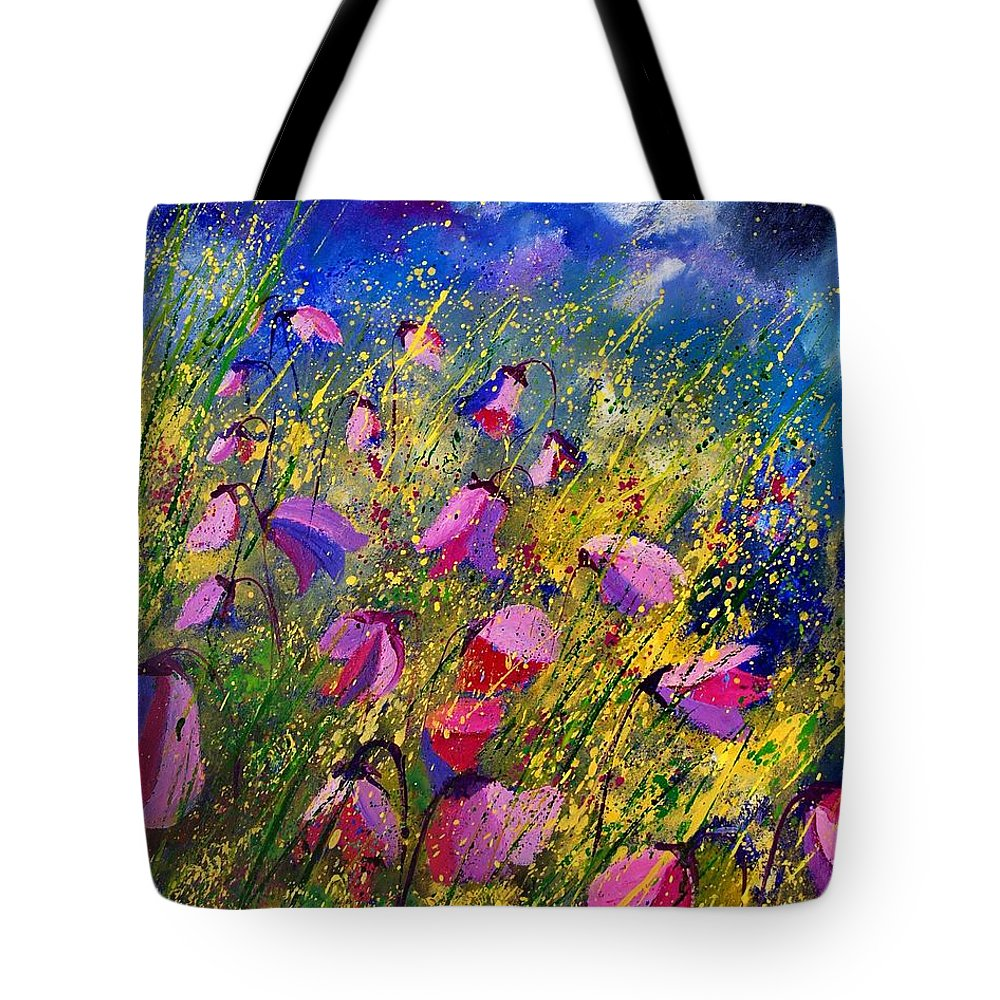 Poppies Tote Bag featuring the painting Purple Wild Flowers by Pol Ledent