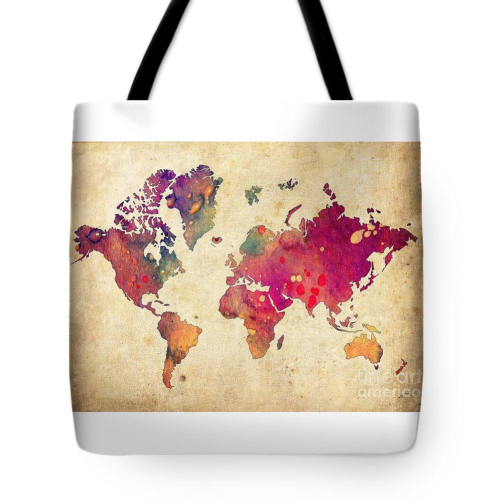 Watercolor World Map Tote Bag featuring the digital art Purple World Map Watercolor Print by Svetla Tancheva