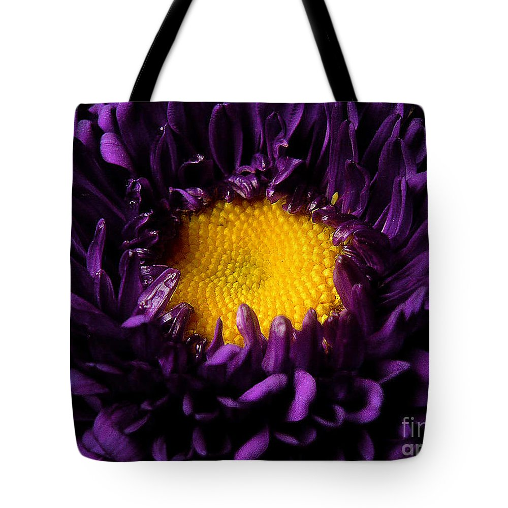 Nature Tote Bag featuring the photograph Purples - Zooming To The Center by Lucyna A M Green