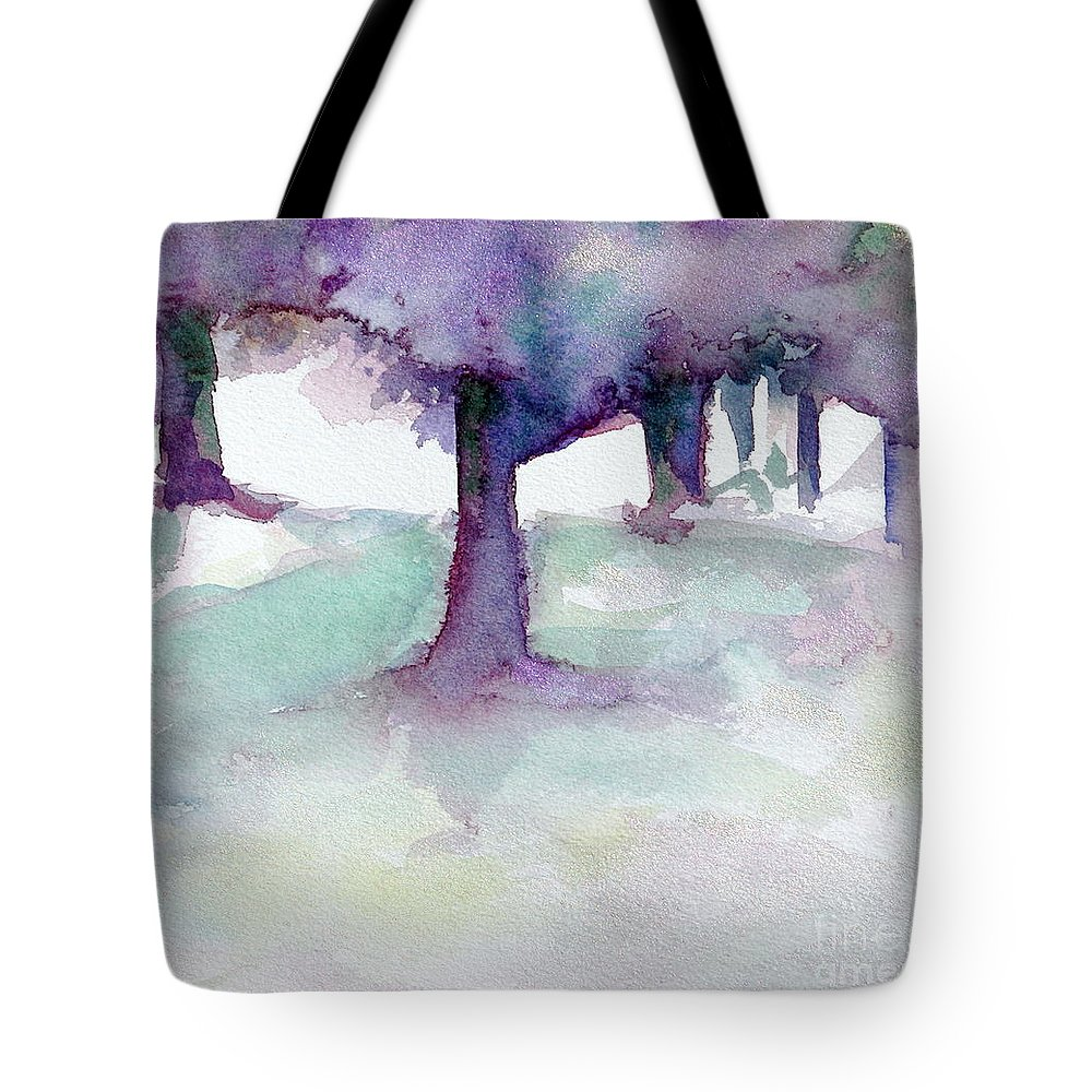 Landscape Tote Bag featuring the painting Purplescape II by Jan Bennicoff