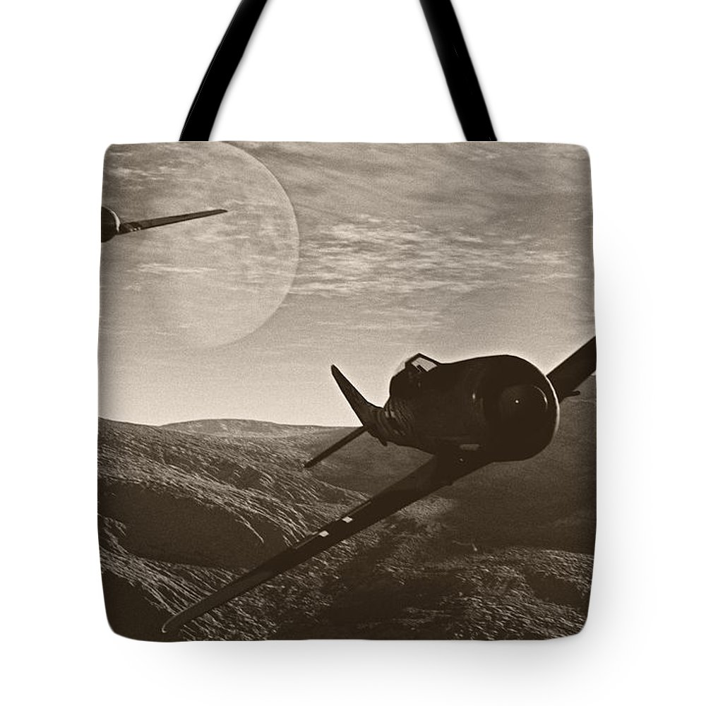 Dogfight Tote Bag featuring the digital art Pursuit Of The Fox by Richard Rizzo